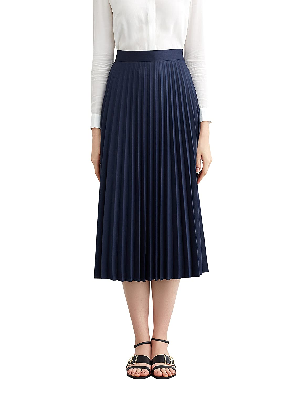 1920s Skirt History Simple Retro Womens High Waist Basic Pleated A-line Midi Skirt  AT vintagedancer.com