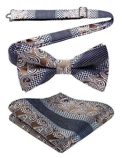b00d69faa113 Enlision Floral Paisley Pre-tied Bow Tie Adjustable Men's Bowtie Jacquard  Woven Party Handkerchief Pocket