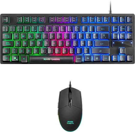 Mars Gaming MCPTKLES, Combo RGB Teclado y Ratón, Diseño TKL, Layout Español
