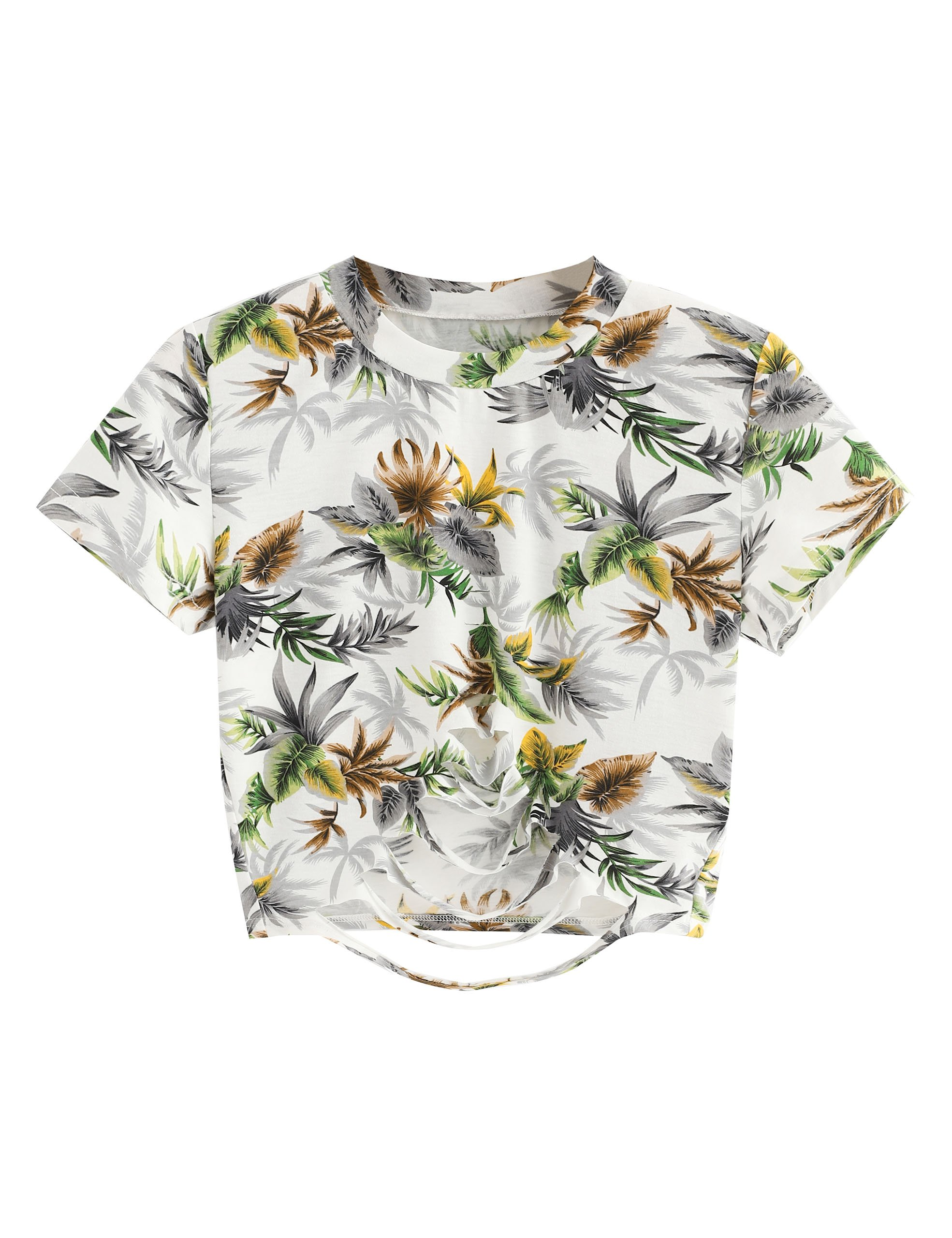 64b4f0452a1c3 Galleon - SweatyRocks Women s Short Sleeve Ripped Tribal Print Crop Top T  Shirt Floral XL
