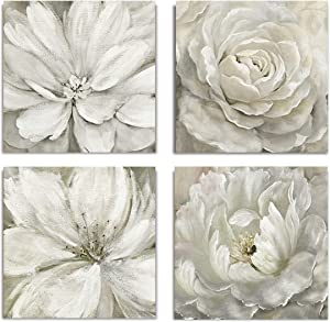 WEXFORD HOME Soft Flower Spring Collection Canvas Print 4 Panels Set Décor for Home Office Wall Art, 12X12, Rainy Day/Frameless