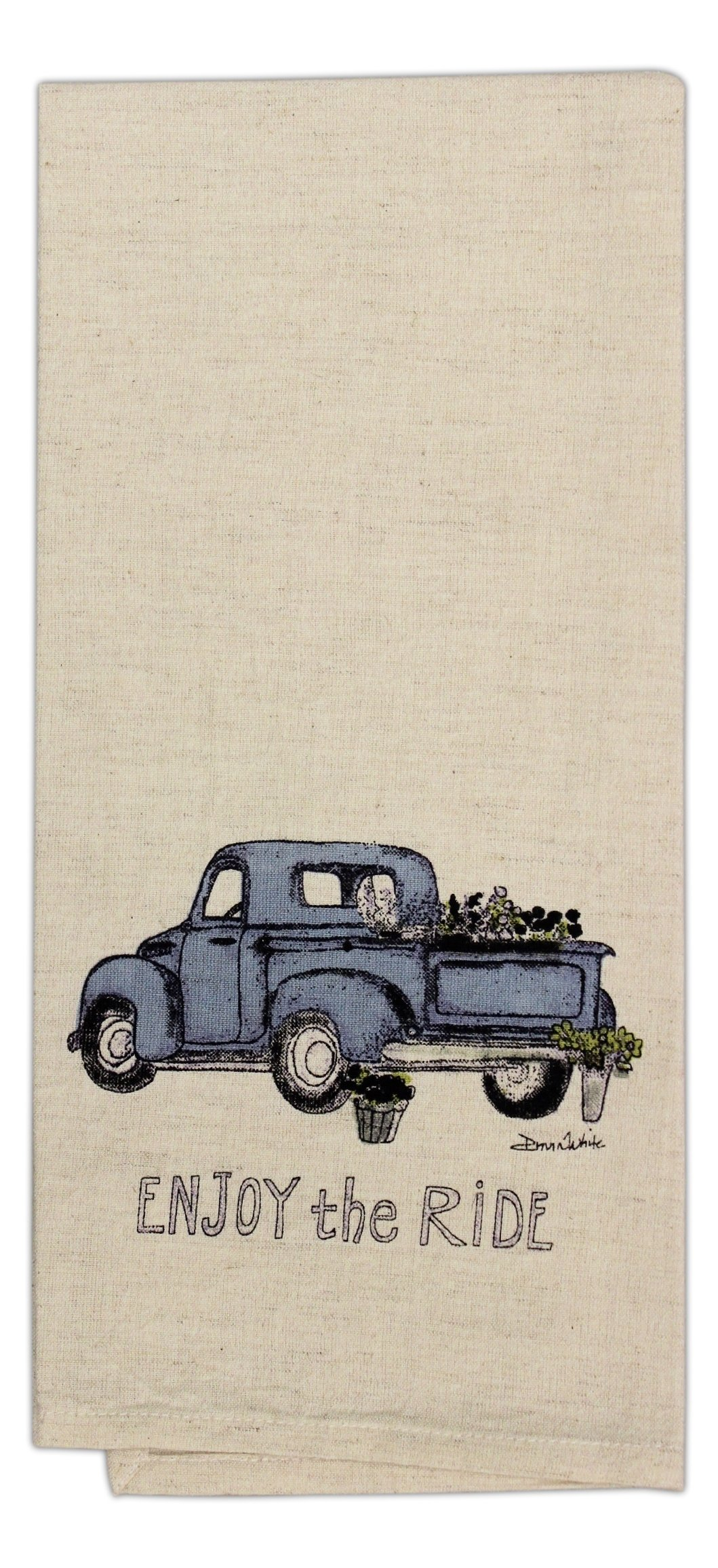 Country House Collection 19'' x 28'' Primitive Cotton Flax Hand Towel (Enjoy the Ride)