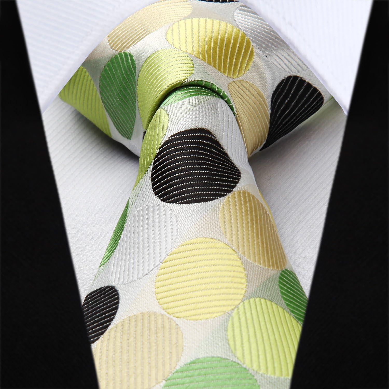 HISDERN Dot Floral Cravate De Mariage Cravate Ensemble De Cravate Et Pochette Pour Homme