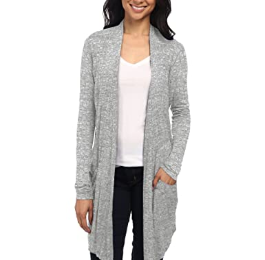 417aaeb0546be Womens Casual Open Front Drape Cardigan KSKW31127 Heather Grey Small