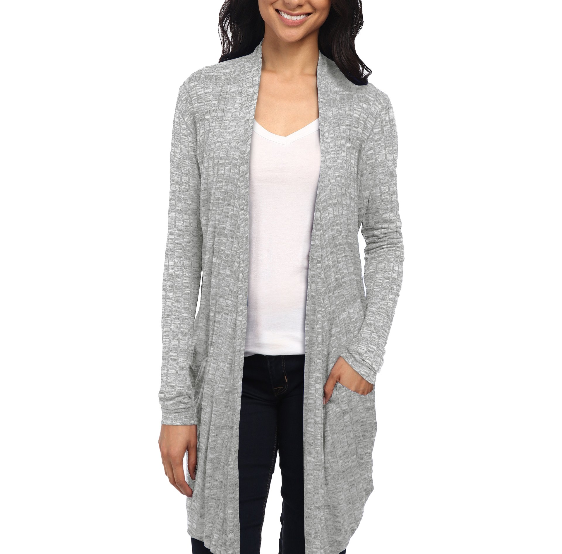 Womens Casual Open Front Drape Cardigan KSKW31127 HEATHER GREY Xlarge