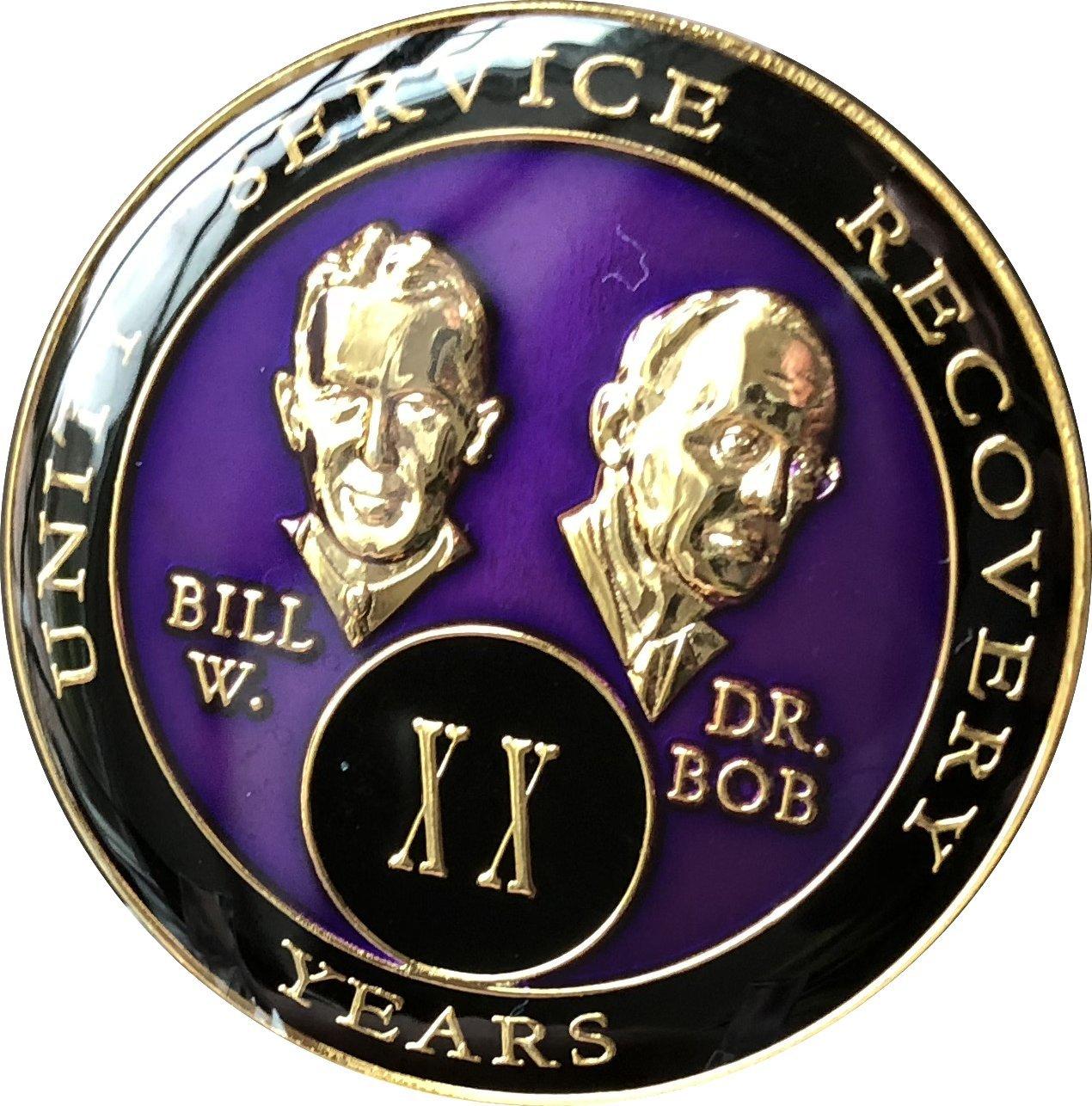 20 year AA Medallion Purple Tri-Plate Founders Bill /& Bob Chip XX