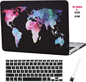 MacBook Pro 13 inch Case Cover A1502 A1425 Plastic Laptop Hard Shell Cover Sleeve Matte Rubberized (2012 2013 2014 2015 Release) with Silicone Keyboad Cover and Dust Brush(Map Pattern-Black)