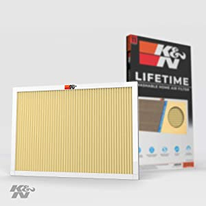 K&N 14x20x1 HVAC Furnace Air Filter Lasts a Lifetime, Washable, Merv 11, Removes Allergies, Pollen, Smoke, Dust, Pet Dander, Mold, Smog, and More, Breathe Cleanly at Home or in the Office, 14x20x1