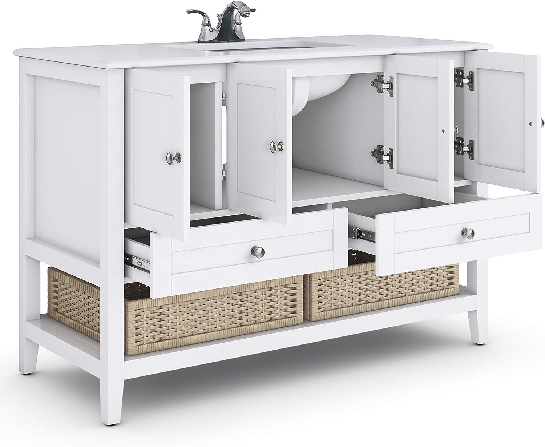 Pure White Simpli Home AXCVRCAPW-48 Cape Cod 48 inch Engineered Quartz Marble Top Bath Vanity Top /& Base Combinations