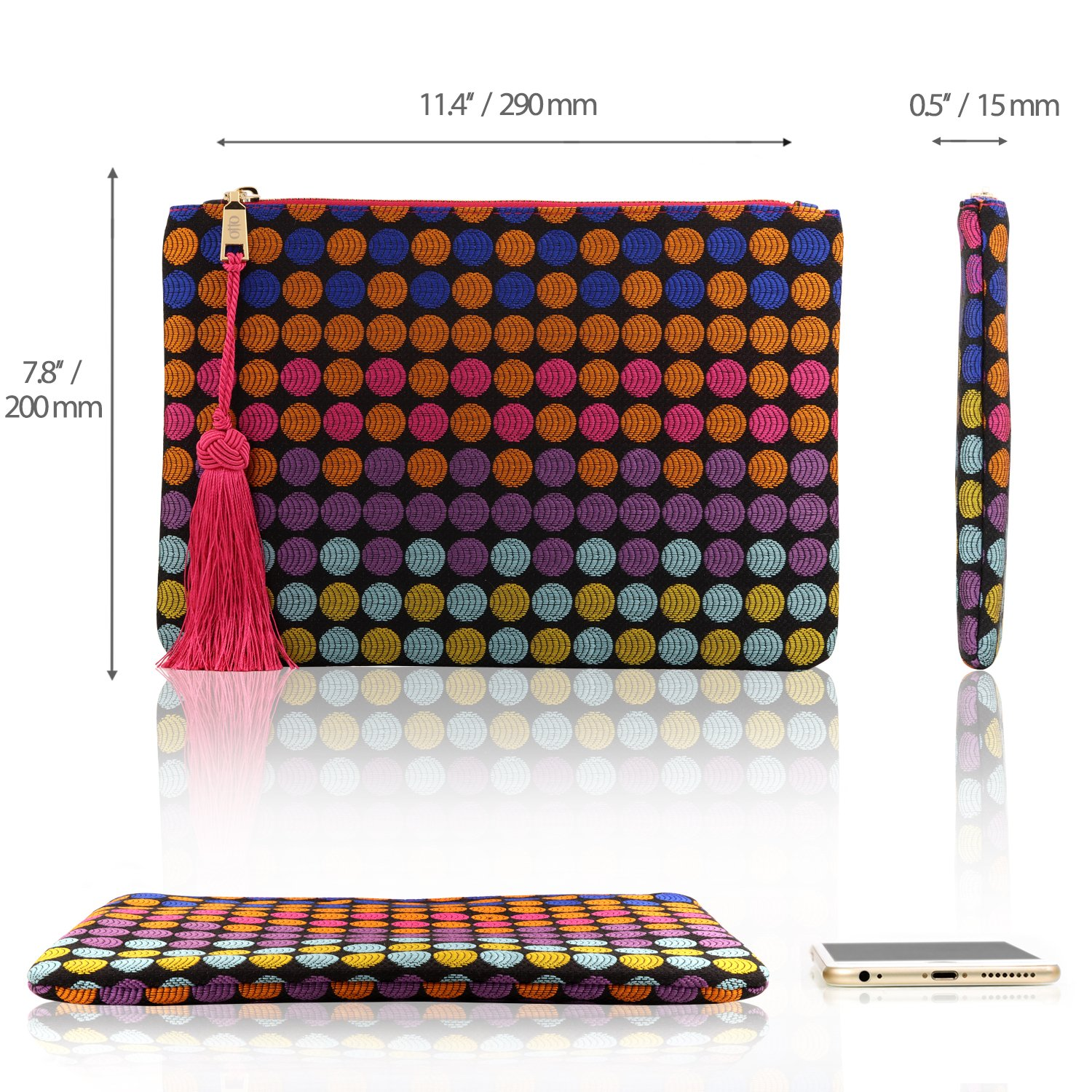 Otto Designer Women's Bohemian Clutch Purse - Multiple Slots Money, Cards, Smartphone - Ultra Slim (Dots) by OTTO Leather (Image #2)