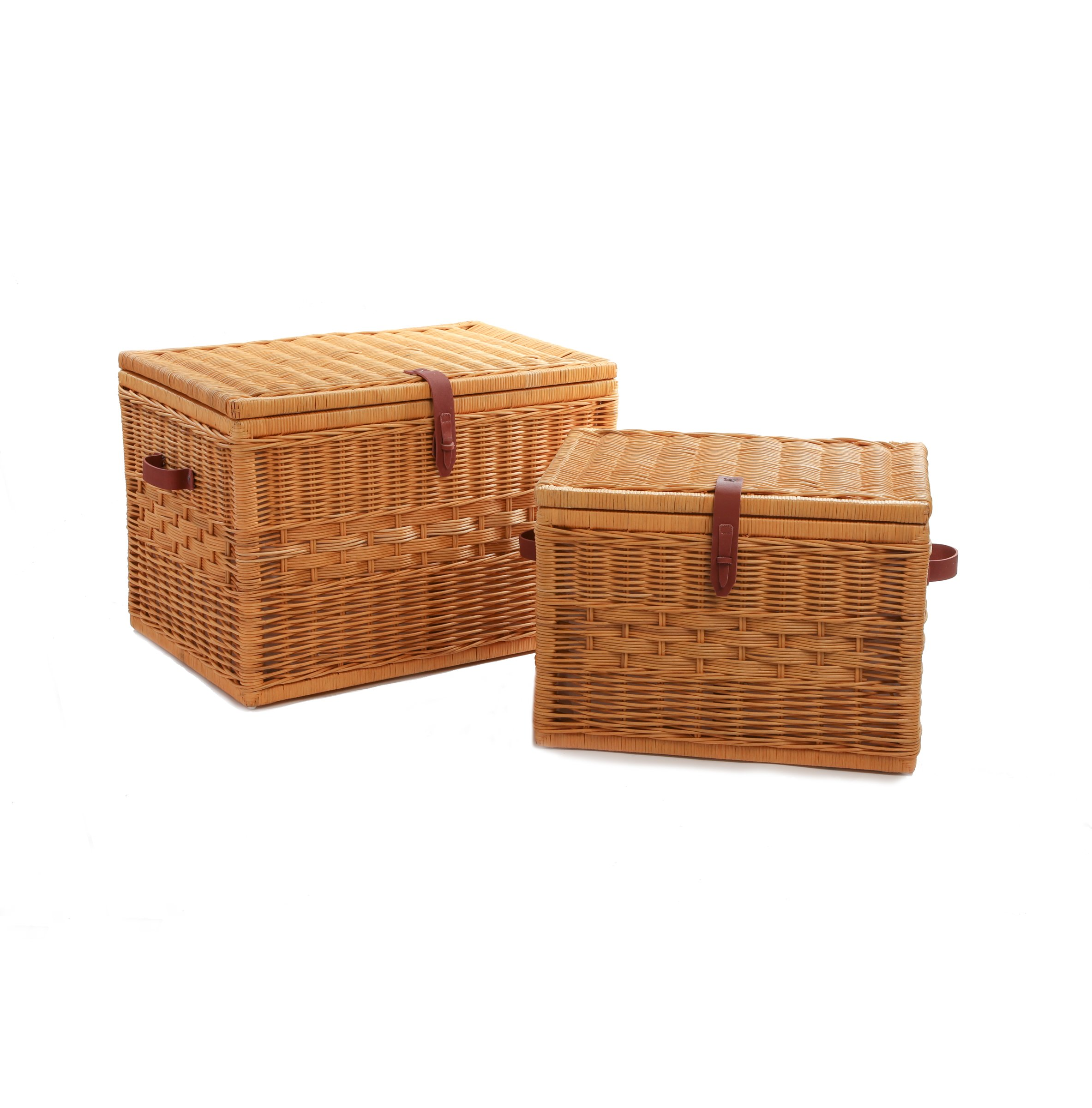 The Basket Lady Deep Wicker Storage Trunk | Wicker Storage Chest Nested set of 2 Toasted Oat