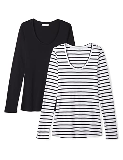 Daily Ritual Women's Midweight 100 Percents Supima Cotton Rib Knit Long Sleeve Scoop Neck T Shirt, 2 Pack by Daily Ritual