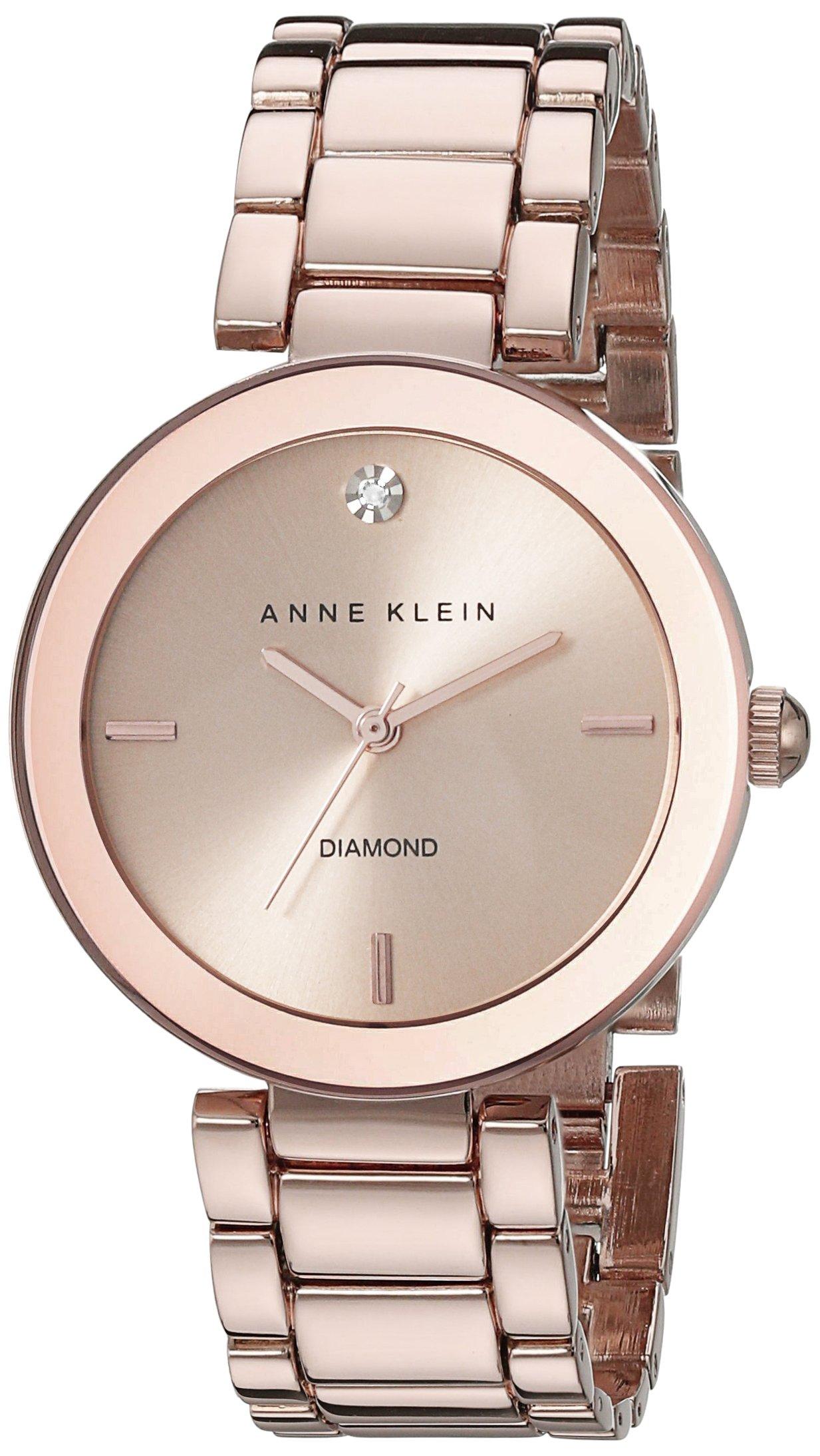 Anne Klein Women's AK/1362RGRG Rose Gold-Tone Diamond-Accented Bracelet Watch by Anne Klein
