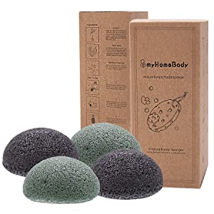 myHomeBody Natural Konjac Facial Sponge with Activated Charcoal and Aloe Vera 4 Pack