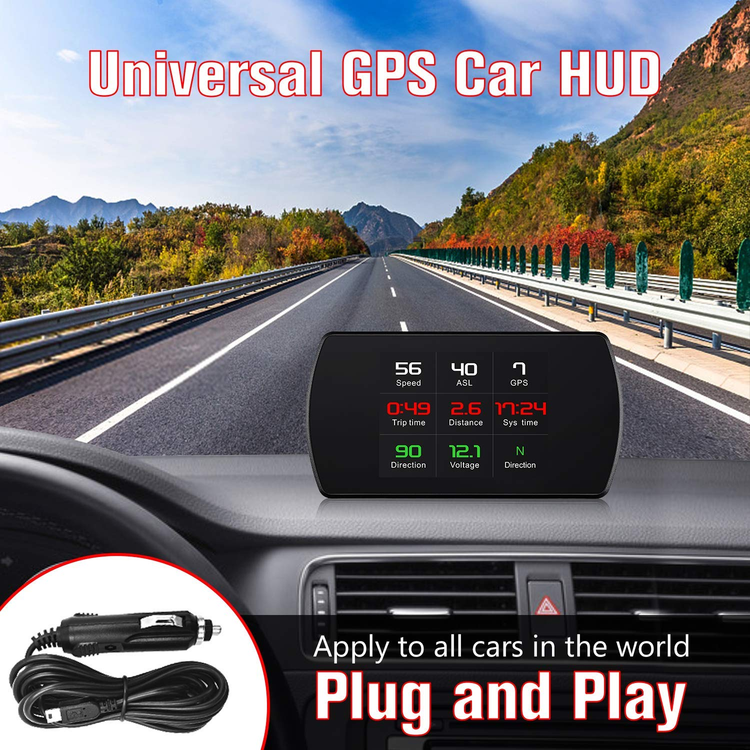 ACECAR Upgrade T800 Universal Car HUD Head Up Display Digital GPS Speedometer with Compass Driving Latitude and Longitude Speedup Test Brake Test Overspeed Alarm HD LCD Display for All Vehicle