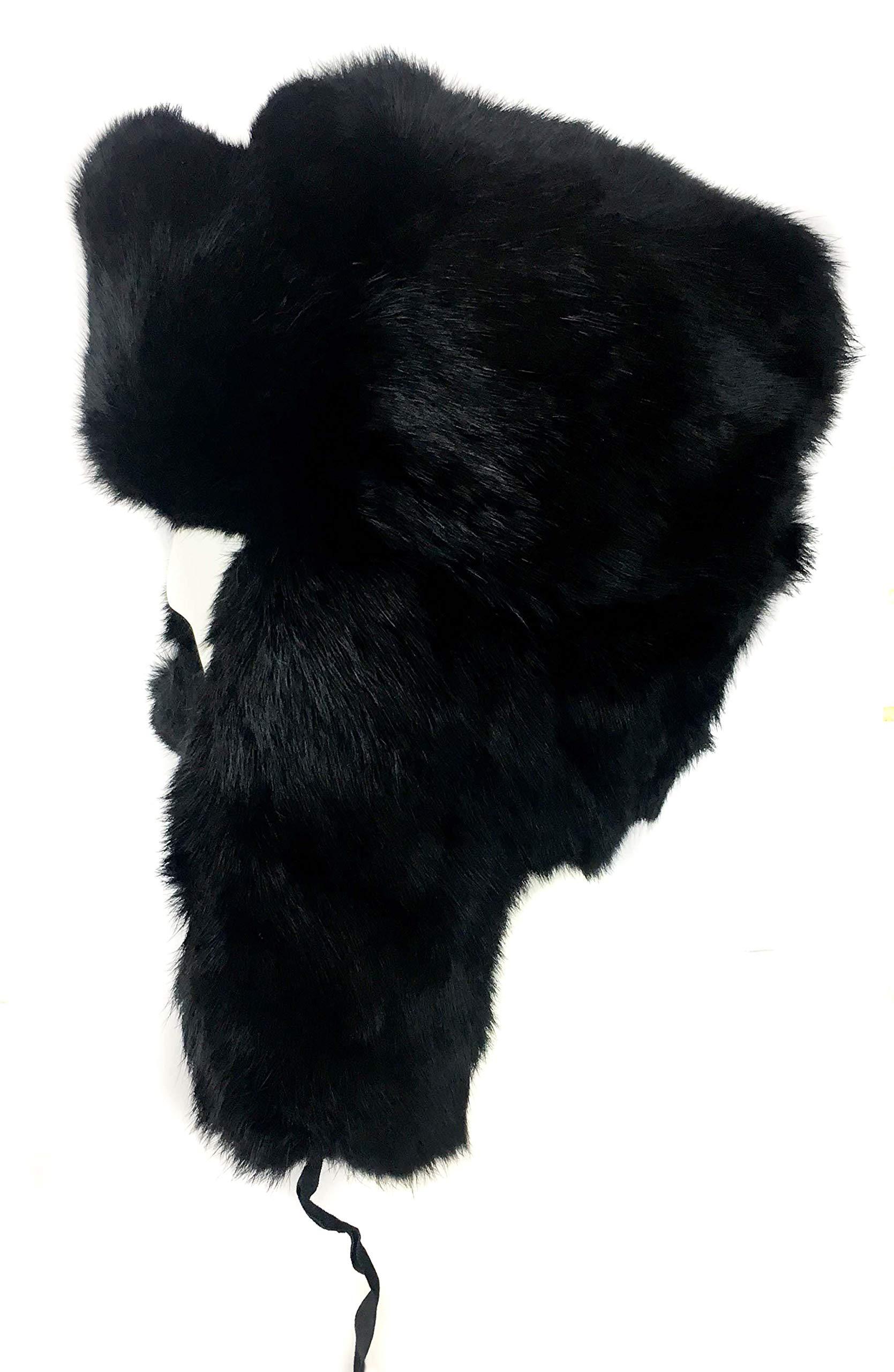 surell Genuine Rabbit Fur Trapper Aviator Hat - Warm Bomber Trooper Hat Black by surell