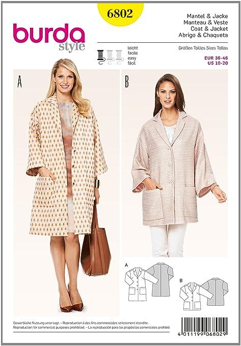 burda 6802 - Patrón de Costura para Abrigo y Chaqueta de niña ...