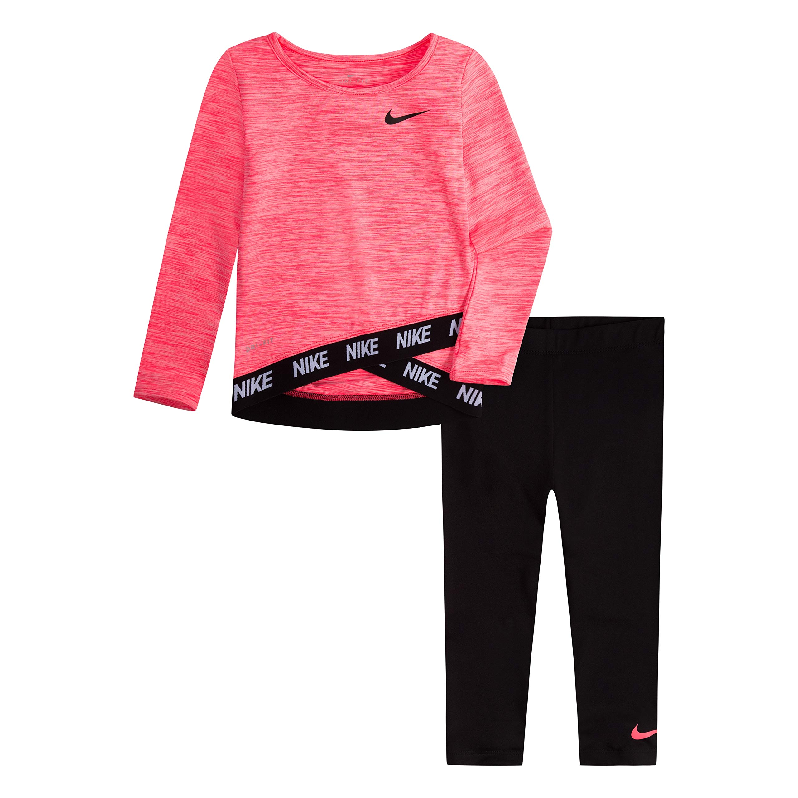 NIKE Children's Apparel Girls' Toddler Long Sleeve Top and Leggings 2-Piece Set, Black/Racer Pink, 3T