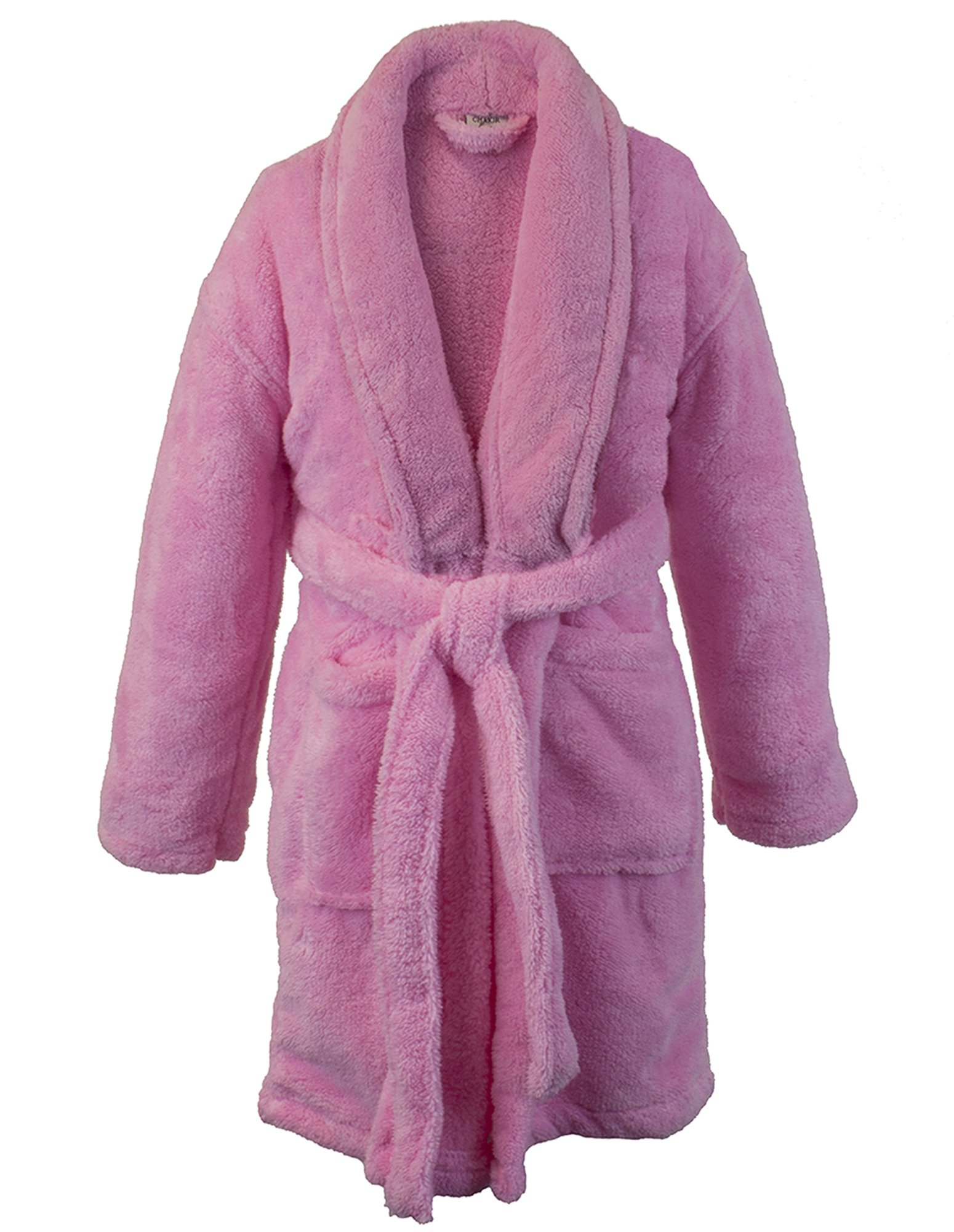 BC BARE COTTON Kids Microfiber Fleece Shawl Robe - Girls - Pink - Medium