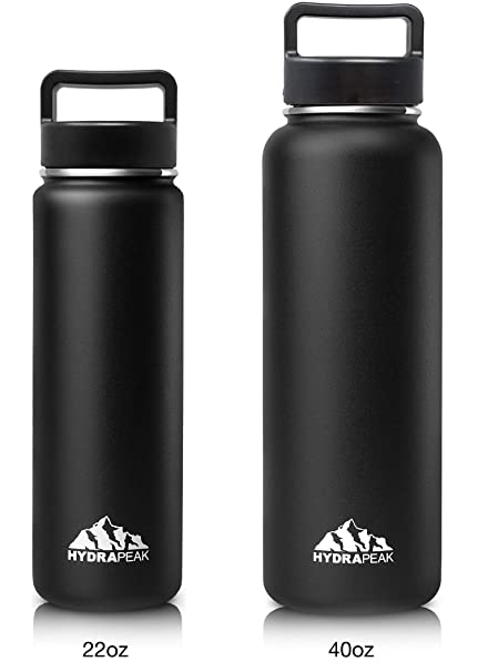 bc13de44fe Hydrapeak Stainless Steel Water Bottle- 22oz Vacuum Insulated Wide Mouth,  Double Walled, Flask