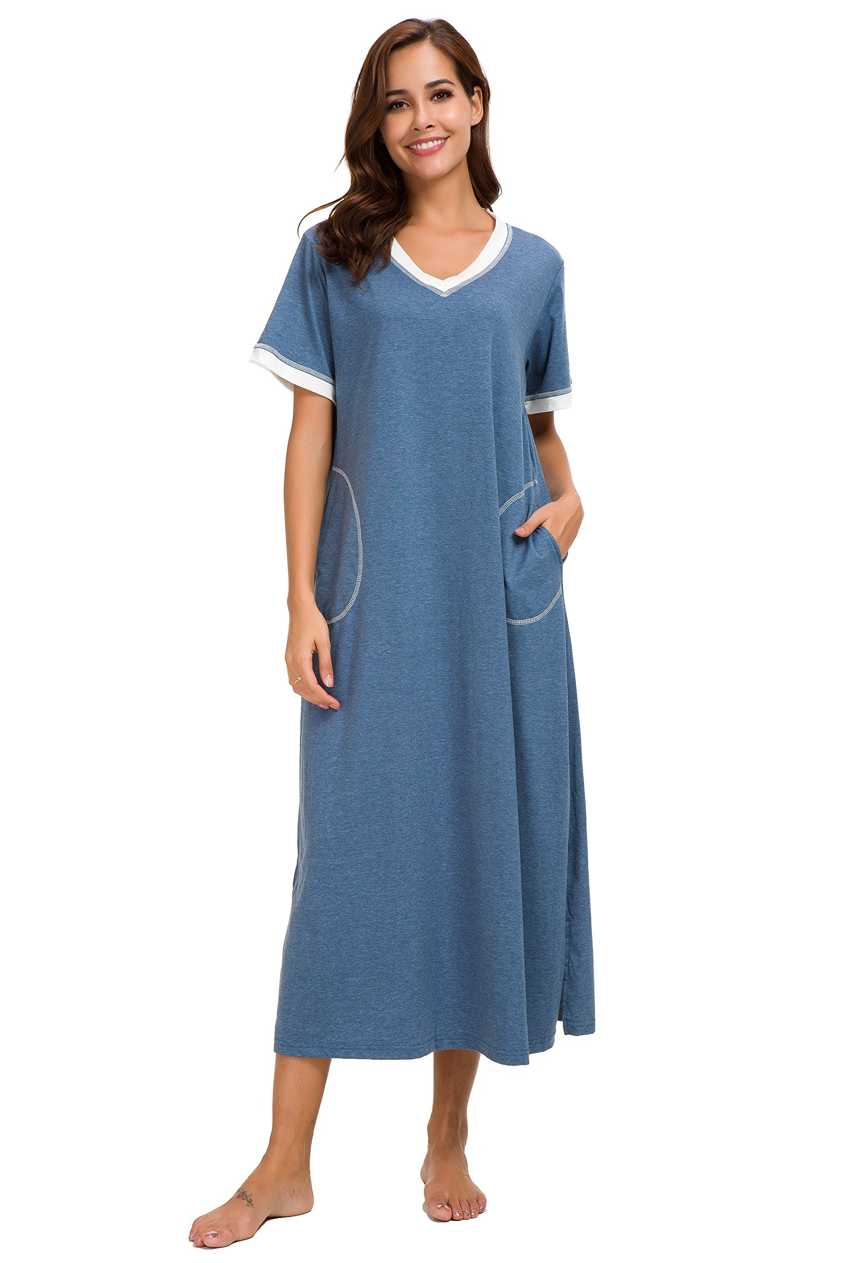 Aviier Long Nightgown with Side Pockets V Neck Short Sleeve Maxi Sleepshirt Ultra Soft (Blue, S)
