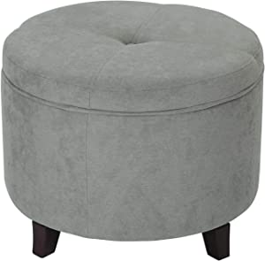 Adeco Round, Fabric Foot Rest and Seat, Modern Button Tufted, Wood Legs, Height 17 Inch Ottomans & Storage Ottomans, Gray