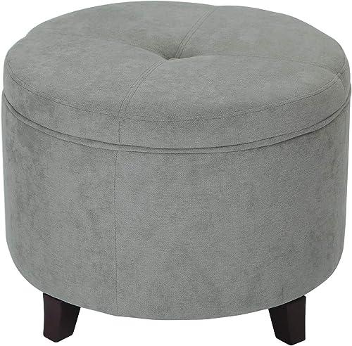 Edeco Fabric Round Storage Ottoman
