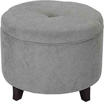 Amazon Com Adeco Round Fabric Foot Rest And Seat Modern Button Tufted Wood Legs Height 17 Inch Ottomans Storage Ottomans Gray Furniture Decor
