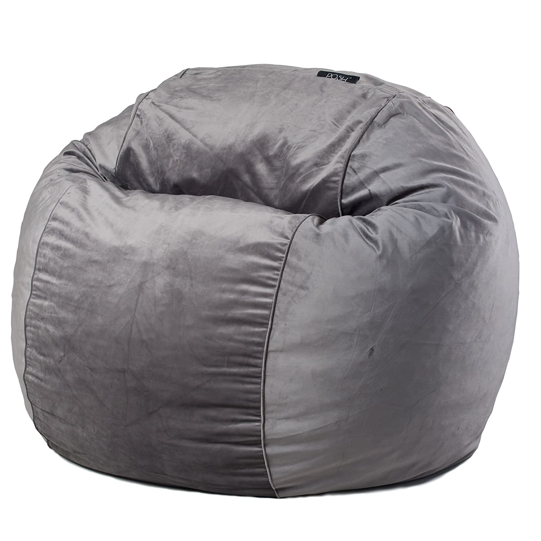 Posh Steel Grey Velvet Medium Bean Bag Chair Tuft Micro Misty 360 Kitchen Dining
