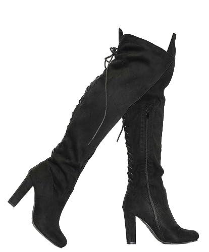 MVE Shoes Women\u0027s Chunky Heel Back Lace up Knee,high Boots