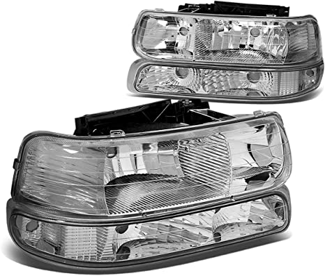 4Pcs Chrome Housing Amber Corner Headlight Bumper Light Lamp Replacement for Chevy Silverado Suburban Tahoe 99-02