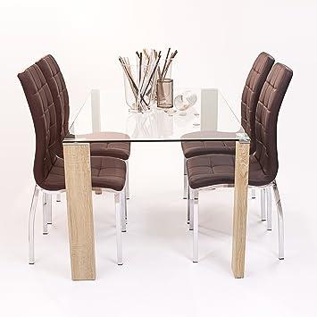 Conjunto de comedor Rosset con mesa rectangular y 4 sillas Polipiel ...
