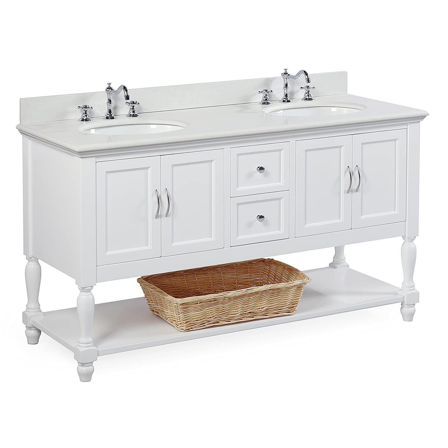 Beverly 60 Inch Double Sink Bathroom Vanity Quartzwhite Includes