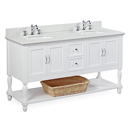 Beverly 60 Inch Double Sink Bathroom Vanity (Quartz/White): Includes A
