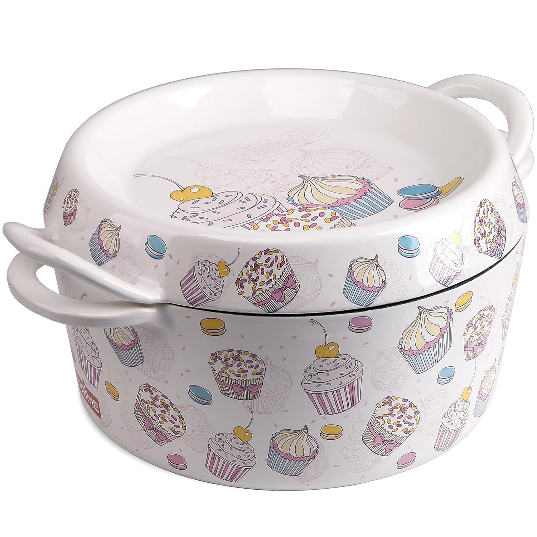 Prime Enameled Cast Iron Dutch Oven Casserole Dish, 4.5 Quart | Gift Ideas, Sweetie, White