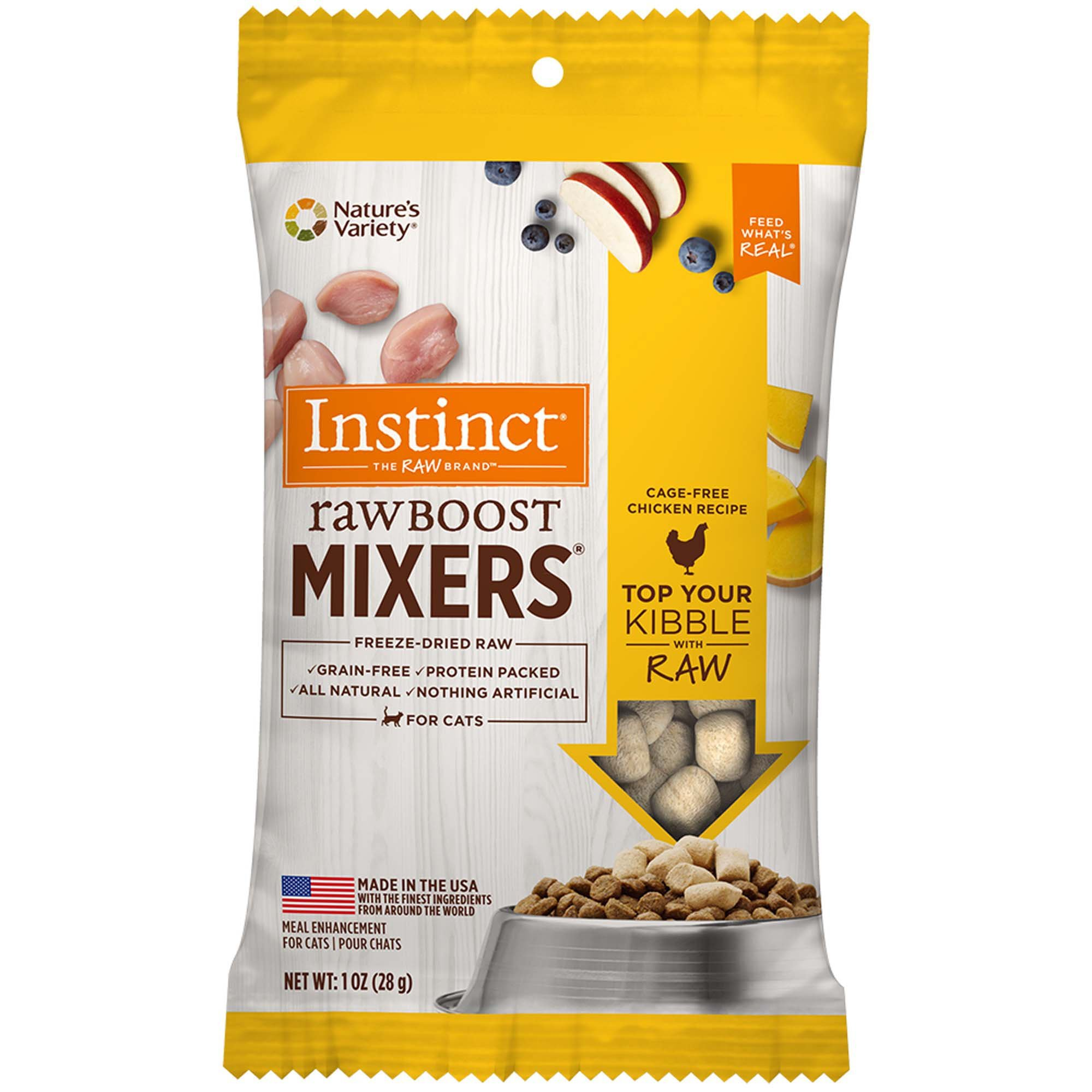 Instinct Freeze Dried Raw Boost Mixers Grain Free Chicken Formula All Natural Cat Food Topper By Nature'S Variety, 1 Oz. Trial Size Bag