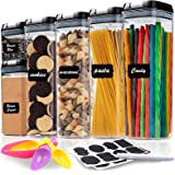 6 Pc Airtight Food Storage Container Set - BPA Free Plastic Kitchen & Pantry Organization Containers - Labels, Marker & Spoon