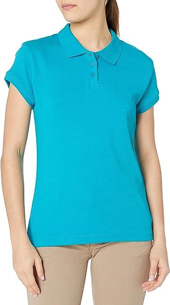 Classroom School Uniforms Junior Girls Short Sleeve Stretch Pique Polo Light Blue Medium
