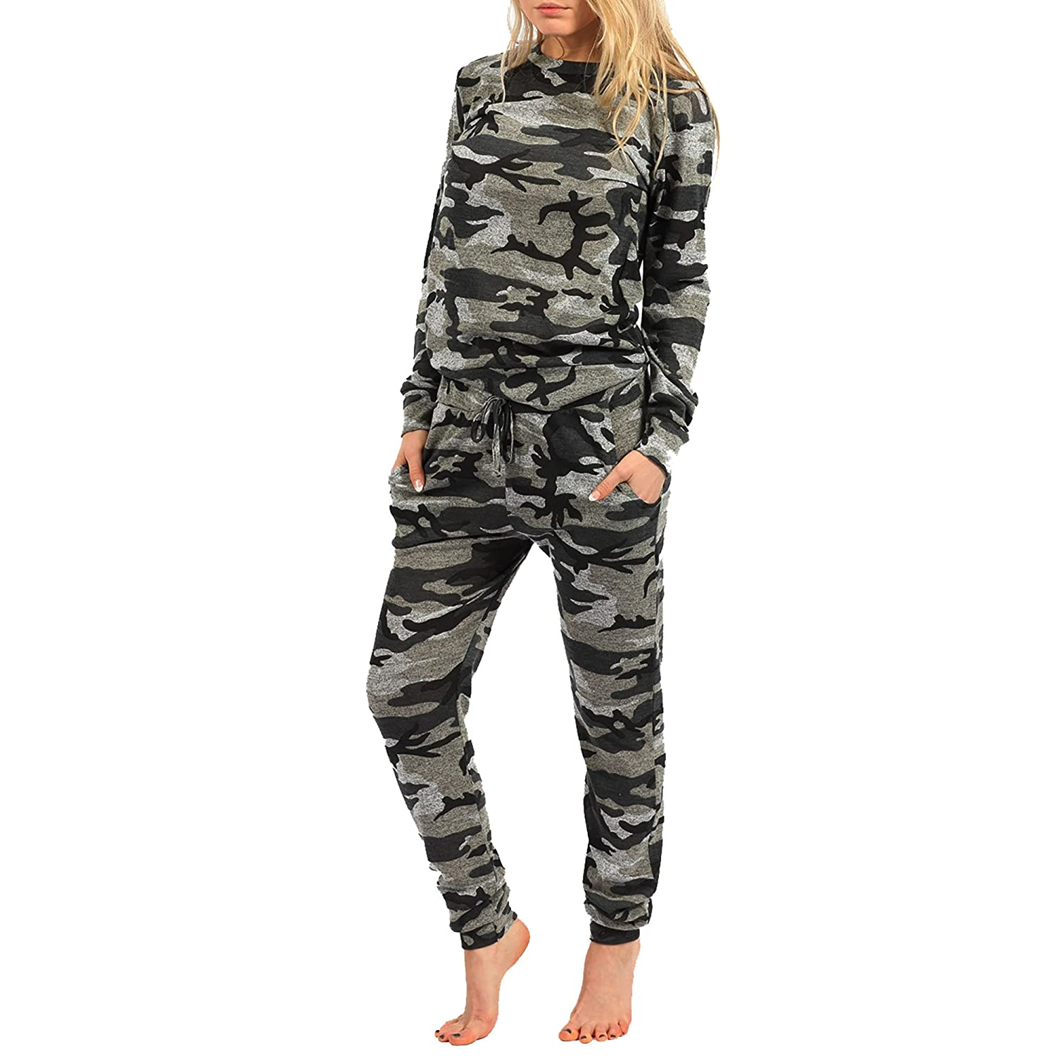 New Womens Girls Camouflage Jogging Suit Set Camo Soft Knitted Full Tracksuit