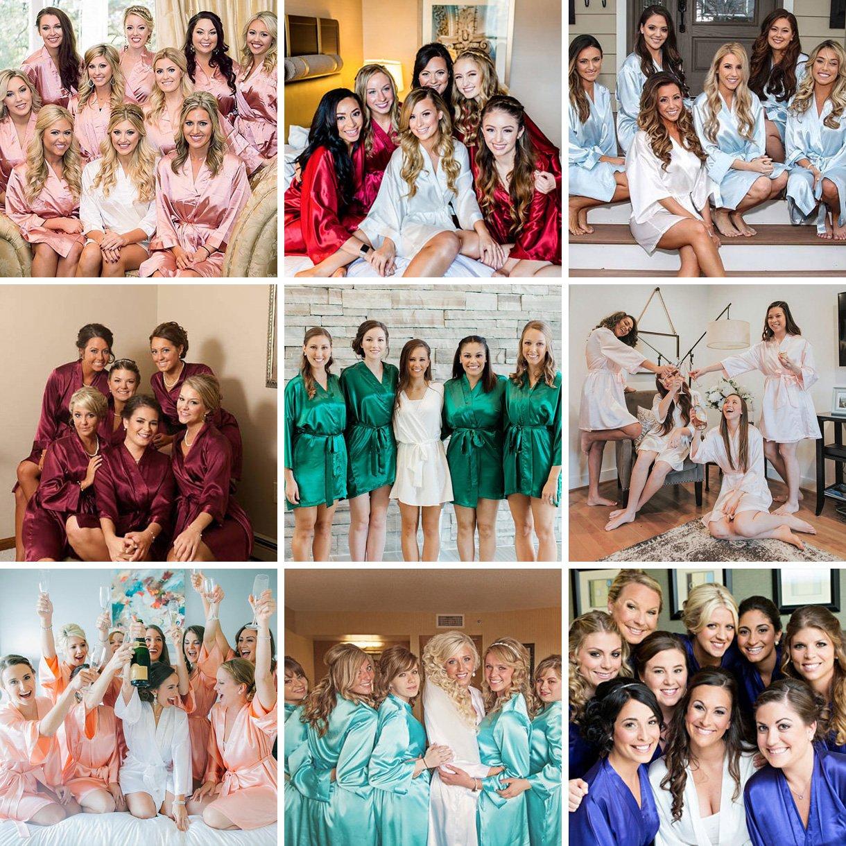 AW Satin Hochzeit Braut Bademantel Strass Brautjungfern Bademantel ...