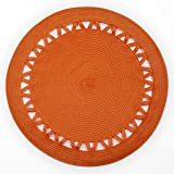Shamake Round Braided Bamboo Style Woven Thanksgiving Christmas Holiday Placemats Set of 4 14-inch Kitchen Table Decorative Easy to clean(13359 Orange)
