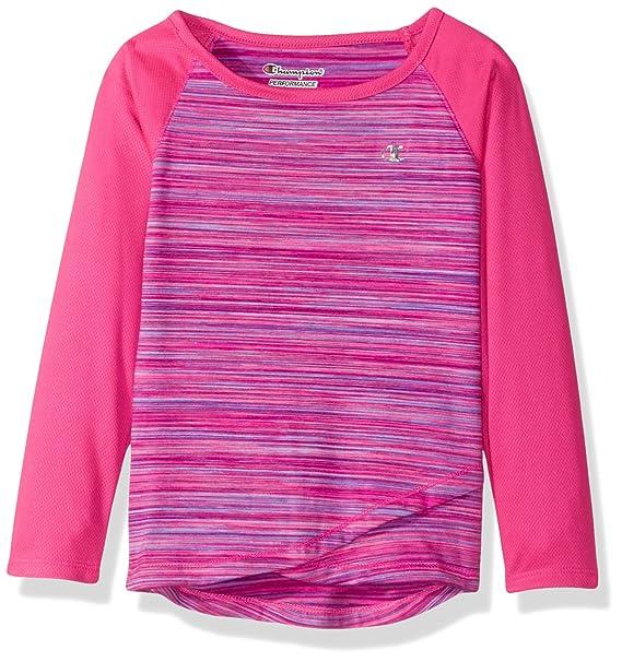 a1e047448 Champion Little Girls' Long Sleeve Performance Active Raglan Tee, Pink  Glow, ...