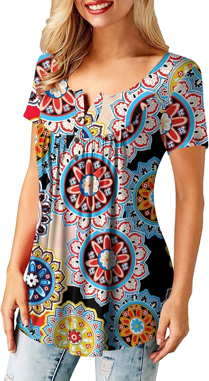 Amoretu Oberteile Damen Gro/ße Gr/ö/ßen Tshirt V-Ausschnitt Knopfleiste Bluse Tunika Tops