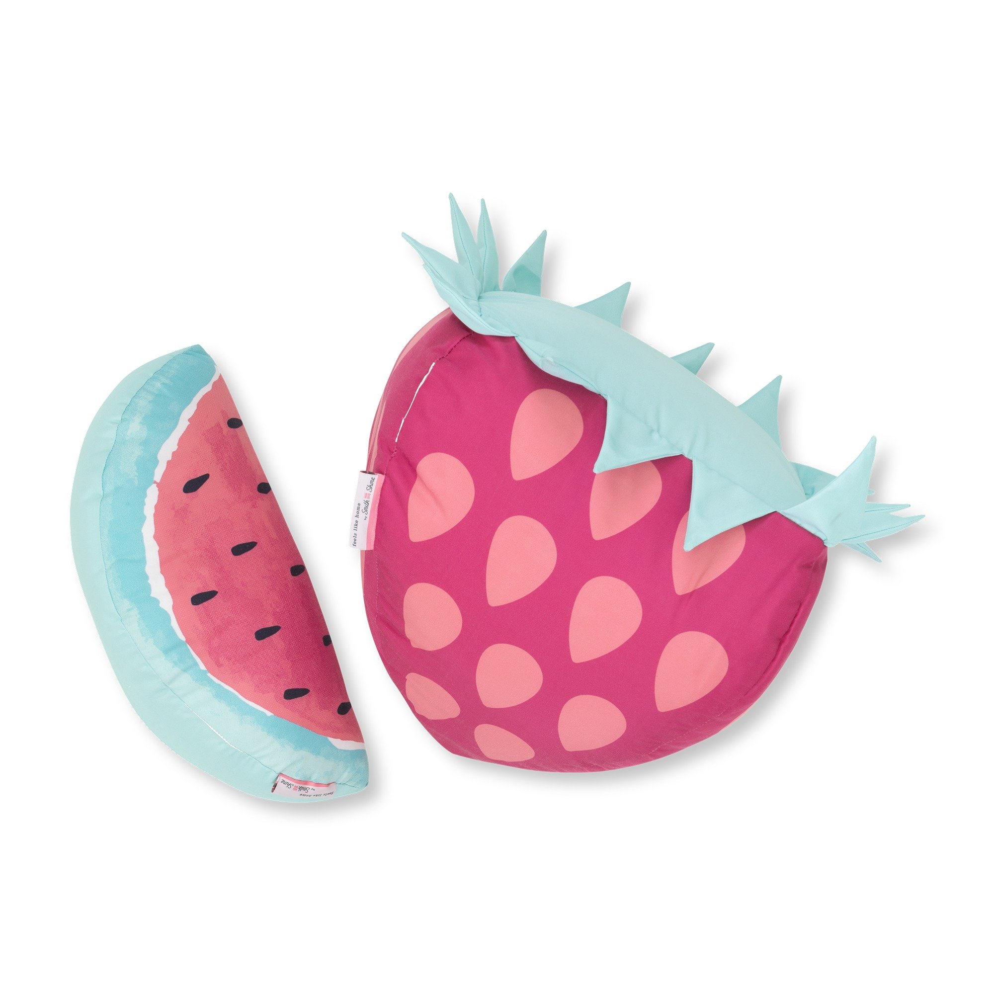 South Shore Dreamit Strawberry and Watermelon Throw Pillows, 2-Pack, Pink/Turquoise, 2 Piece