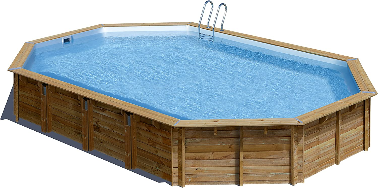 Piscina de madera GRE ovalada Avila Wooden Pool GRE 790092: Amazon ...