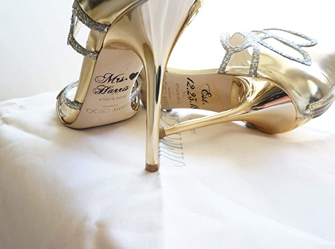 067679d97399 Image Unavailable. Image not available for. Color  Custom Personalized  Wedding Bridal Shoe Decal Name Date Heart Shoe Stickers ...