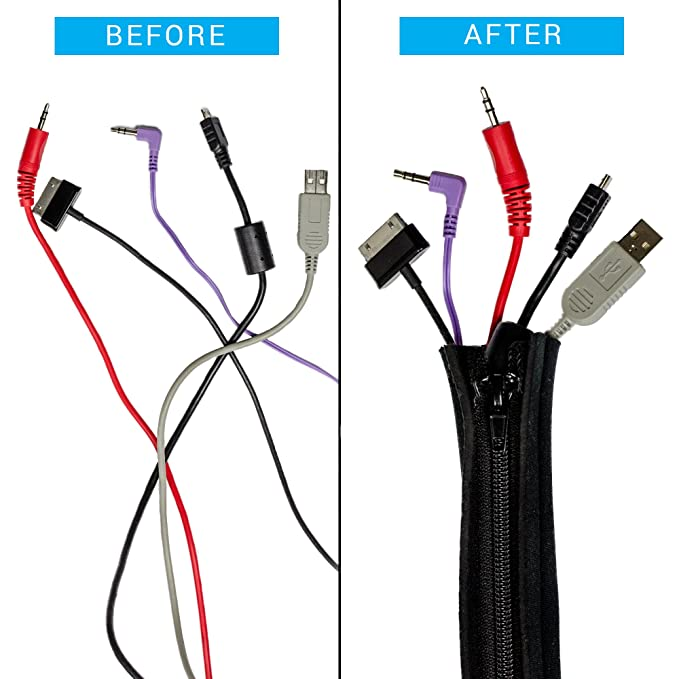 Amazon.com: Cable Management, Cord Hider Sleeves for Computer, TV ...
