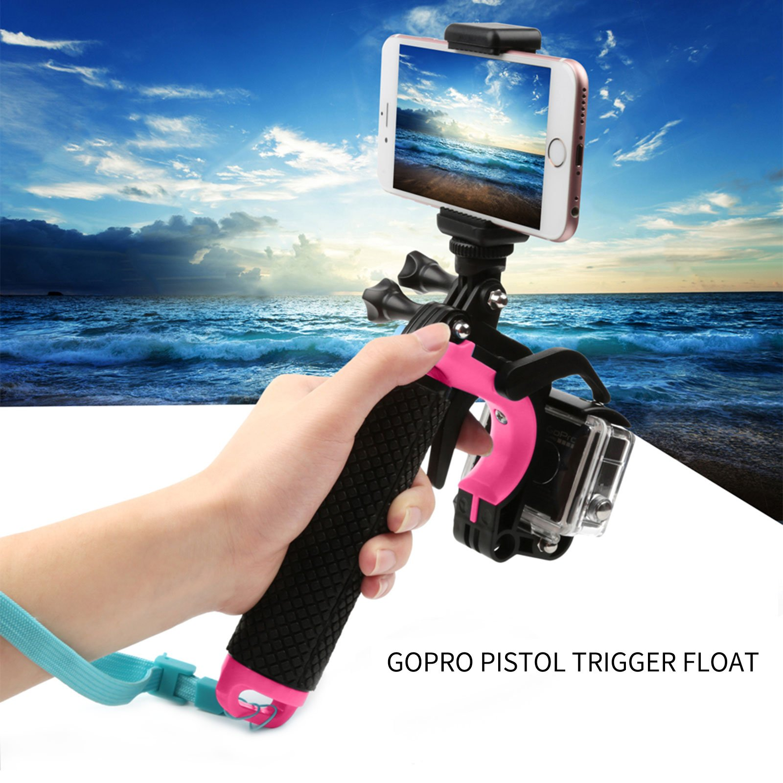 ARCHE GoPro Waterproof Pistol Shutter Trigger Kit for Gopro Hero 6 Black, Gopro Hero 5, Hero 4,Hero 3+ Hero 3, Hero+LCD Yi Action SJCAM Xiaomi (Blue/Green/Orange/Pink/Yellow) (Pink)
