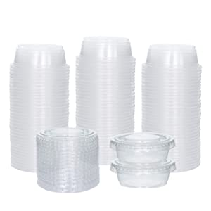 [100 Sets] 1.5 oz Small Plastic Containers with Lids, Jello Shot Cups with Lids, Disposable Portion Cups, Condiment Containers with Lids, Souffle Cups for Sauce and Dressing