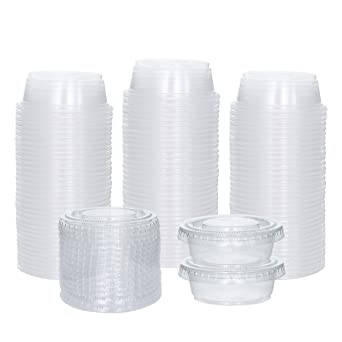 Plastic Disposable Souffle Cups Salad Dressing Container to Go with Lids Portion Cups 100 Sets - 1 oz.